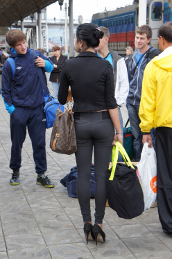 Typical Russian travellers - from baggy shell suits to spray on skin-tight jeans.