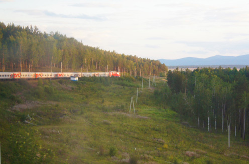 The Trans-Siberian train taken from the smoking vestibule at the very rear of our train.