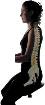 Diagram showing a good spinal posture for working while sitting.