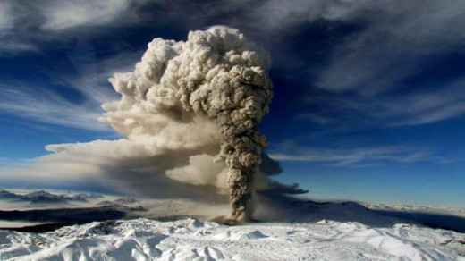 Eruption of volcano in Chile, 2012