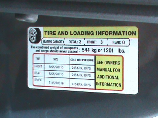 tire information sticker