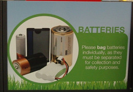 A battery re-cycling bin