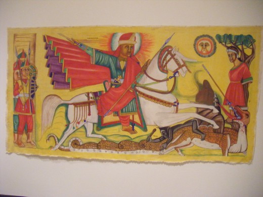 St. George and the Dragon, Ethiopian, Qes Adamu Tesfaw 2003.  The Ethiopian artist was trained as a priest in the Ethiopian Orthodox Church, but later left the priesthood to pursue a career as an artist.