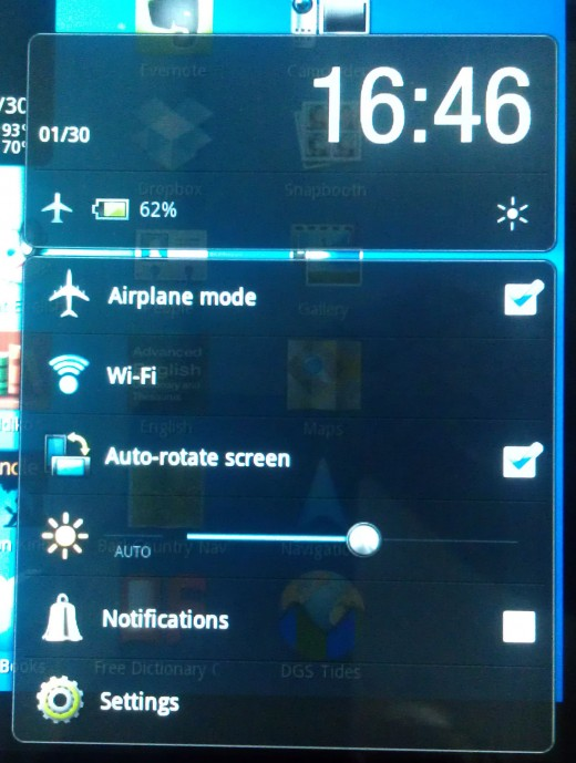 The Airplane Settings and WiFi screen.