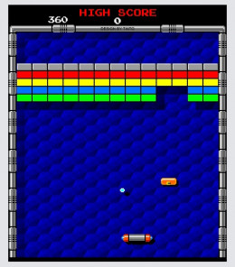 An 'Arkanoid' Flash remake screen capture. Available online.
