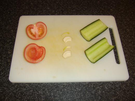 Deseeding the cucumber salsa ingredients