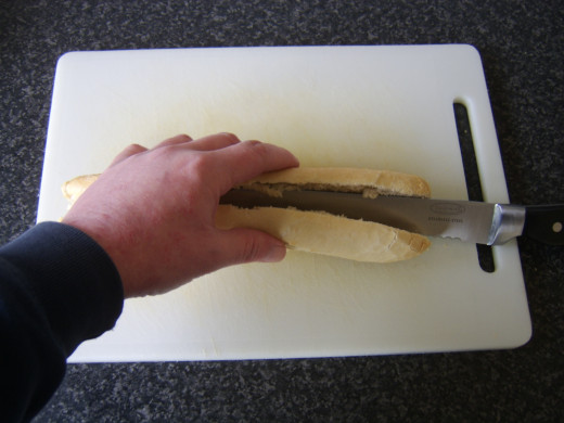 Easy way to evenly half a baguette