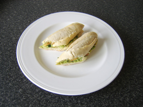 Cucumber salsa, mashed avocado and Mexicana cheese in a freshly baked baguette