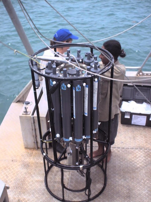 Checking out the deep sea water sampler prior to    sampling.