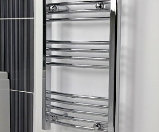 A shiny chrome towel radiator