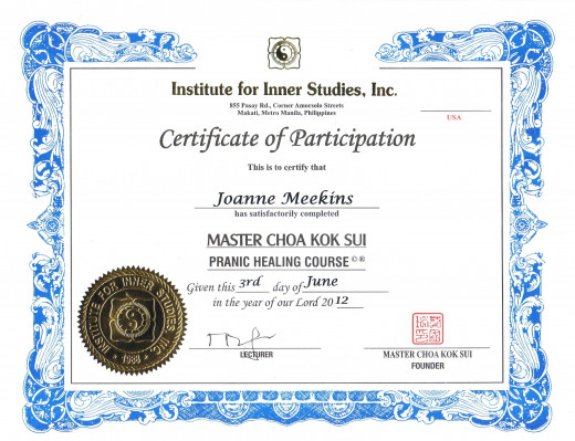 Pranic Healing Course Completion 6/2 - 6/3/12