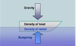 The buoyancy or bouyant force is equal to the weight of the boat.