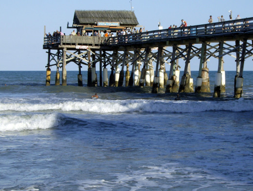 Cocoa Beach Pier.  The beach is lively and there is always plenty to do for visitors.