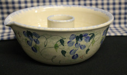 Stoneware Chicken Cooker in hand painted wisteria pattern