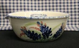 Stoneware Chicken Cooker in hand painted blue bonnet pattern