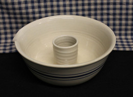 Stoneware Chicken Cooker in traditional American Heritage blue stripe