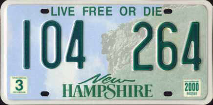 The New Hampshire License Plate