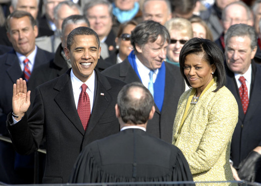 2009 Presidential Inauguration of Barack Obama. Sworn in by Chief Justice of the United States, John G. Roberts, Jr.