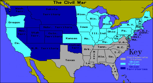 The grey is the confederate slave states
