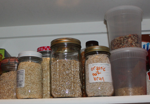 Use Mason and Ball jars to keep bulk foods organized and accessible.