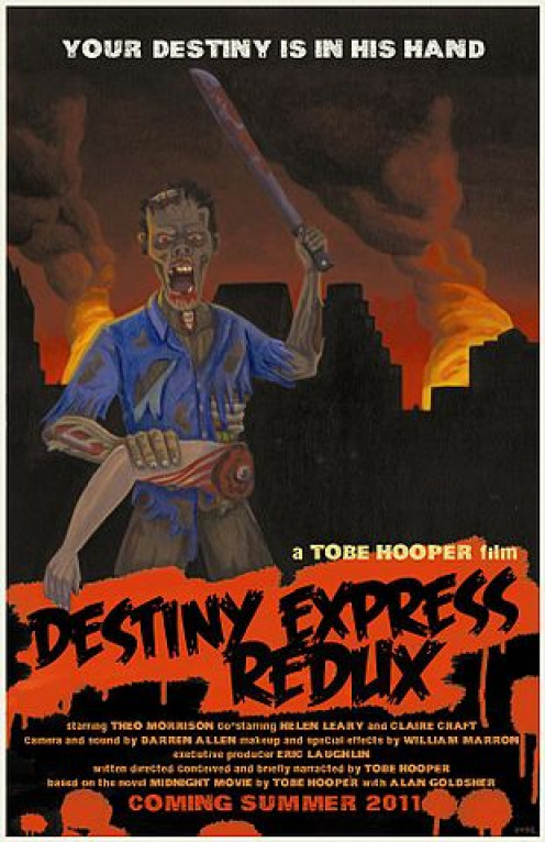 A movie poster for the film Destiny Express Redux, directed by Tobe Hooper