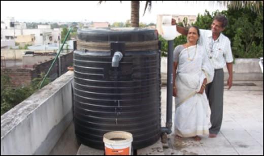 Telescoping biogas digester.