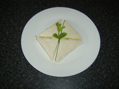 Crustless cucumber sandwich as it may be served for afternoon tea