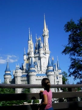 My little girl and her first time seeing Cinderella's castle.