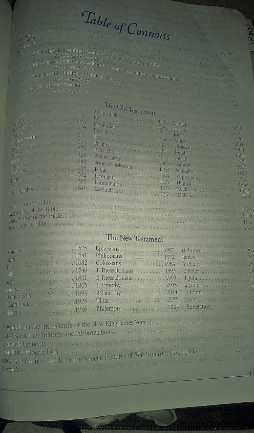 My Bible's Table of Contents