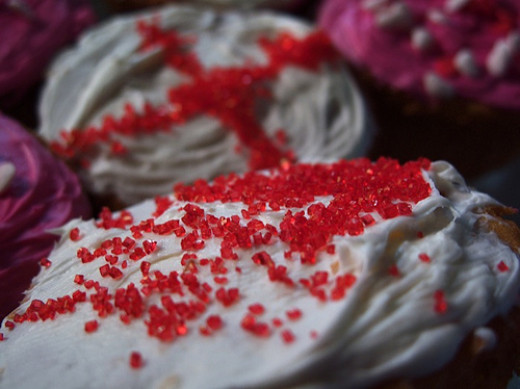 Red sprinkles and white icing