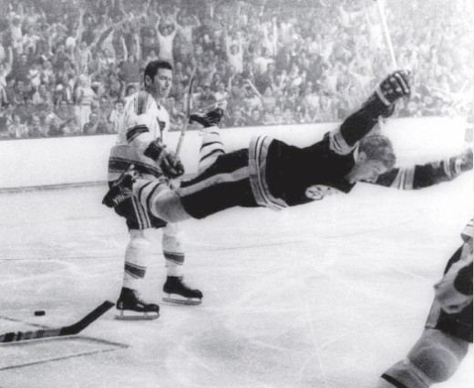 The famous photo of Bobby Orr  flying through the air after scoring the Stanley Cup winning goal for the Boston Bruins in 1970