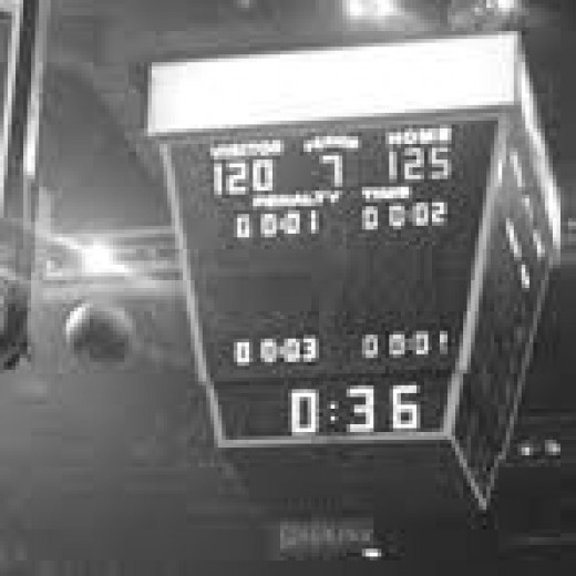 The scoreboard at the Boston Garden at the end of the triple overtime thriller vs. the Phoenix Suns in 1976