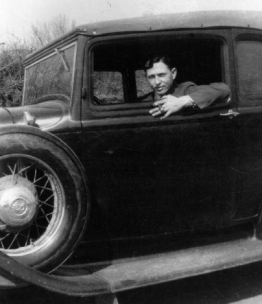 Clyde in his Ford V-8