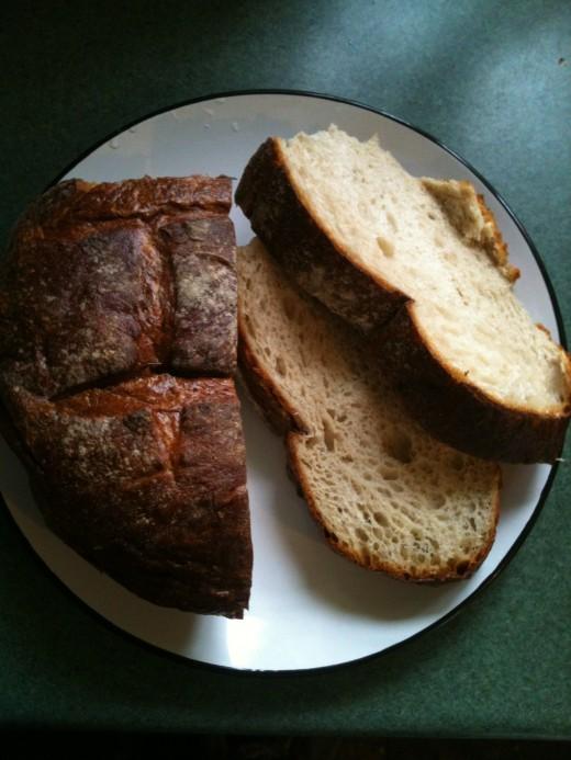 Wonderfully flavourful white artisan bread. Photo © Redberry Sky