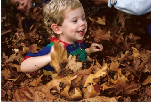 Happiness is playing in the leaves