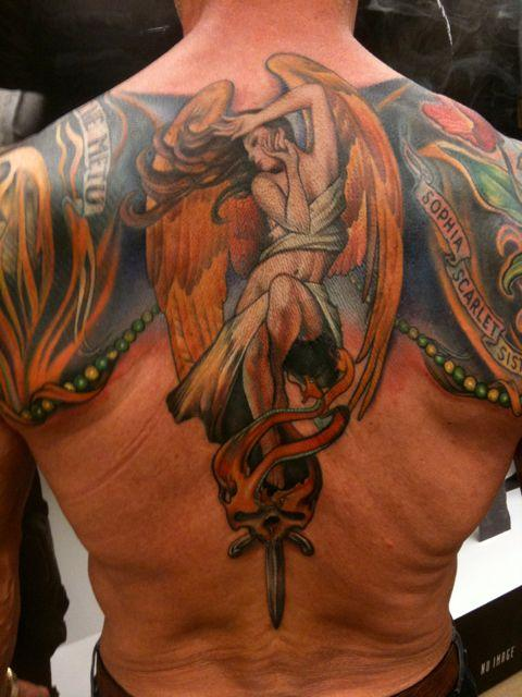 Stallone's new back tattoo