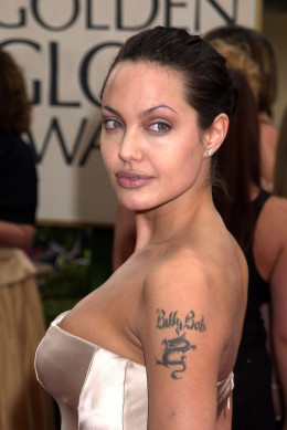 Angelina and her Billy Bob tattoo