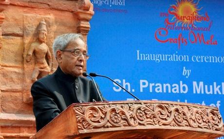 President Pranab Mukherjee Inaugrating Surajkund Crafts Fair 2013