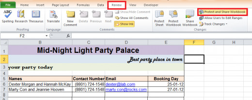 Selecting protect and share workbook from Review toolbar