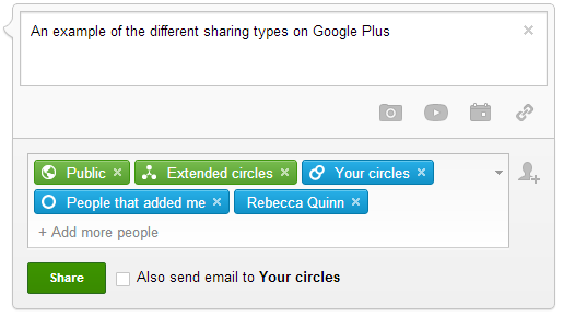 The different types of audience you can share posts and updates with on Google Plus