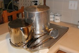 Amish made stainless drain board for large pot and pan drying.