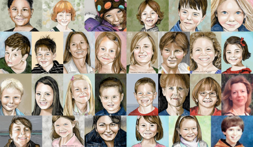 All portraits by Margi Laurin except for the images of Adam and Nancy Lanza in the bottom right corner.