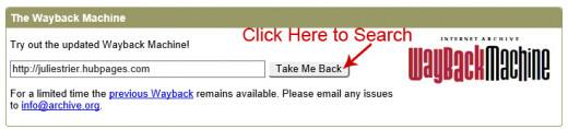 Screenshot of The Wayback Machine Search