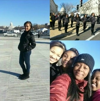 Hadiya and friends... during time she performed for the Presidential inauguration with high-school band