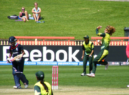 First bowler Qanita Jalil Bowling against England