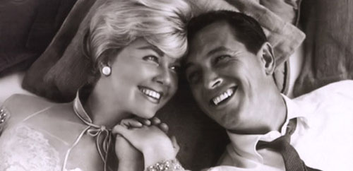 "Doris Day and Rock Hudson in ""Pillow Talk"""