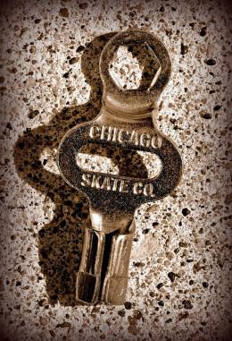 Skate key for clamp roller skates.