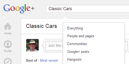 Searching for a Community on Google Plus