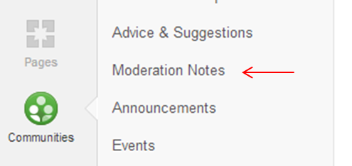 An example of where you might find moderation notes / posting guidelines in a G+ Community