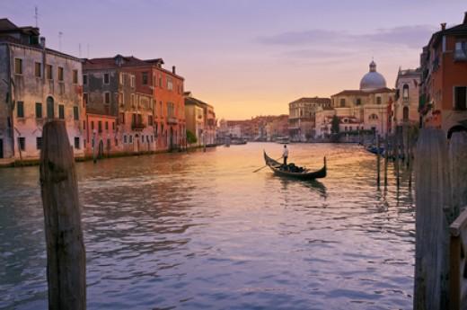 A Gondola on Grand Canal, Venice, Italy